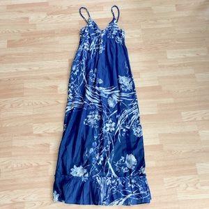 NWT Old Navy Maxi Sun Dress Blue Floral Ruffled